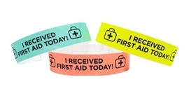 """""""I Received First Aid Today"""" Paper Wristband"""