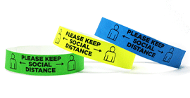 Please Keep Social Distance Tyvek Wristbands