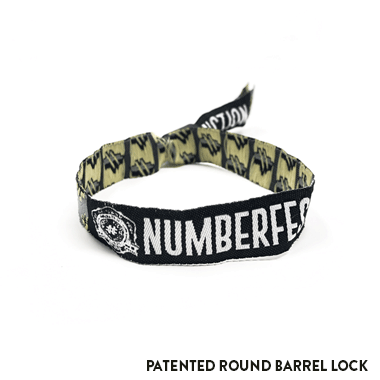 Woven Fabric Wristband with Barrel Lock