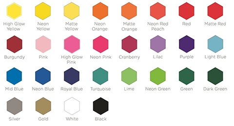 L Shape Vinyl Colours